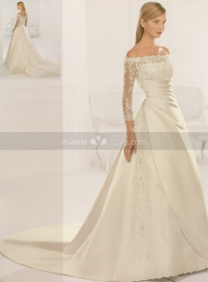 HANNAH - A-line Off the shoulder Chapel train Satin Wedding dress