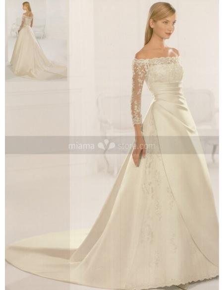 HANNAH - A-line Off the shoulder Chapel train Satin Wedding dress