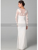 SOPHIA - Sheath Floor length Tulle Low round/Scooped neck Wedding dress