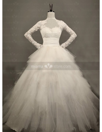 MIA - A-line Ball gown Empire waist Floor length Tulle Lace High round/Slash neck Wedding dress