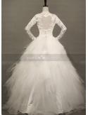 MIA - A-line Ball gown Empire waist Floor length Tulle Lace High round/Slash neck Wedding dress