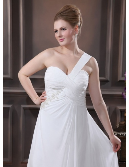 SABRINA - A-line Chapel train Chiffon Asymmetrical Wedding dress