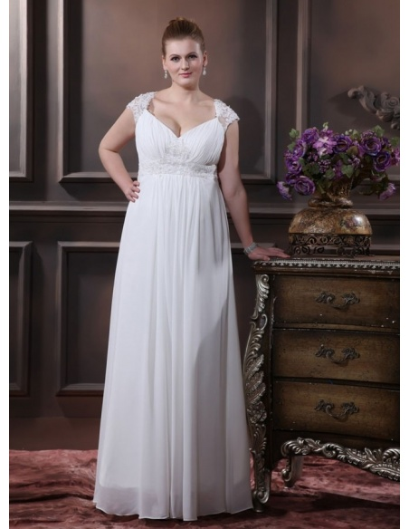 TAMARA - Empire waist Sheath V-neck Floor length Chiffon Wedding dress