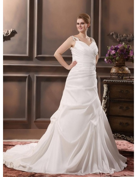 VIVIAN - A-line V-neck Chapel train Taffeta Wedding dress