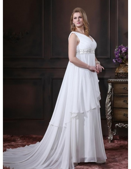WENDY - A-line V-neck Empire waist Chapel train Chiffon Wedding dress