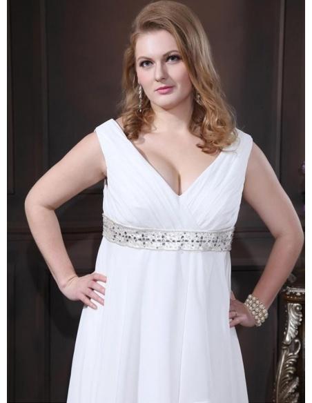 WENDY - A-line V-neck Empire waist Chapel train Chiffon Wedding dress