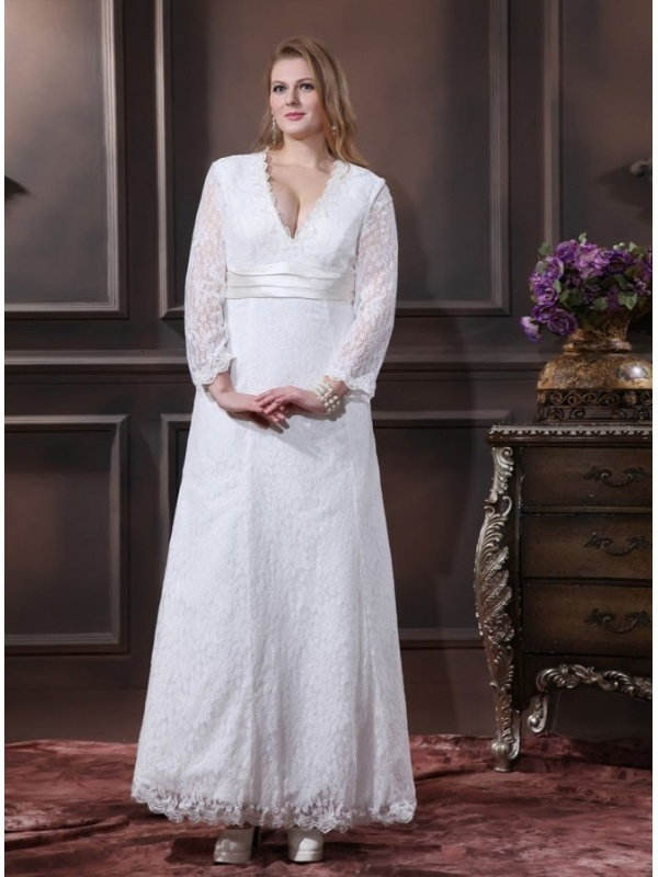 robe de mari e forme trap ze taille empire d collet en v manches longues. Black Bedroom Furniture Sets. Home Design Ideas