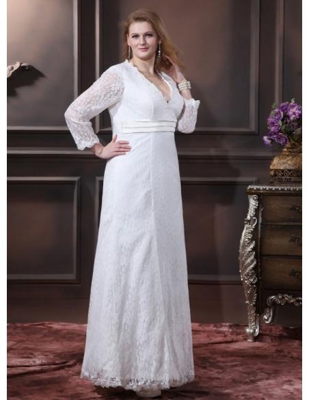WINNIE - A-line V-neck Empire waist Floor length Lace Wedding dress