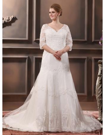 ANGEVIN - A-line V-neck Chapel train Organza Wedding dress