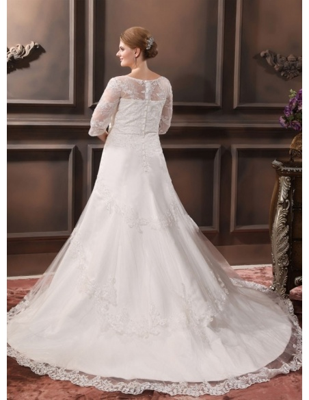 ANGEVIN - A-line V-neck Chapel train Organza Wedding dress