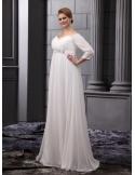 BELLA - Empire waist V-neck Court train Chiffon Wedding dress