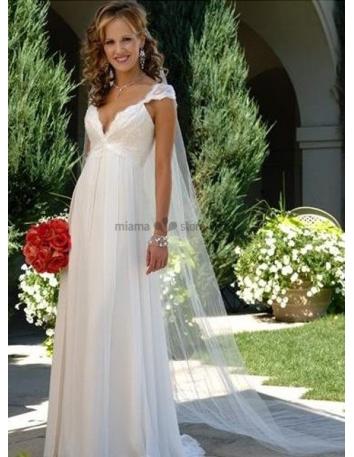 d3965e207e46 LARA - V-neck Empier waist Cheap Court train Chiffon Wedding dress ...