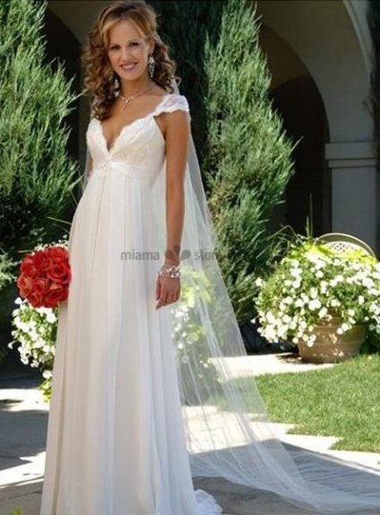 LARA - V-neck Empier waist Cheap Court train Chiffon Wedding dress