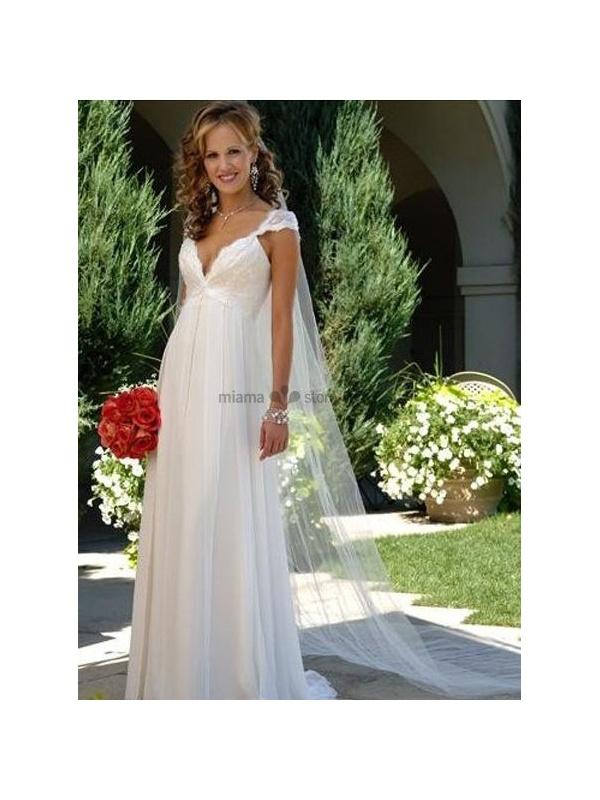 88acbec8de5d LARA - V-neck Empier waist Cheap Court train Chiffon Wedding dress
