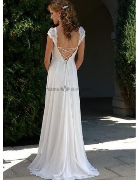LARA - V-neck Empier waist Cheap Court train Chiffon Wedding dress