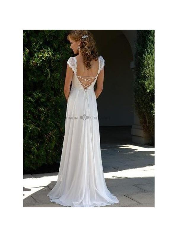 0e984d258b7f V-neck Empier waist Cheap Court train Chiffon Wedding dress