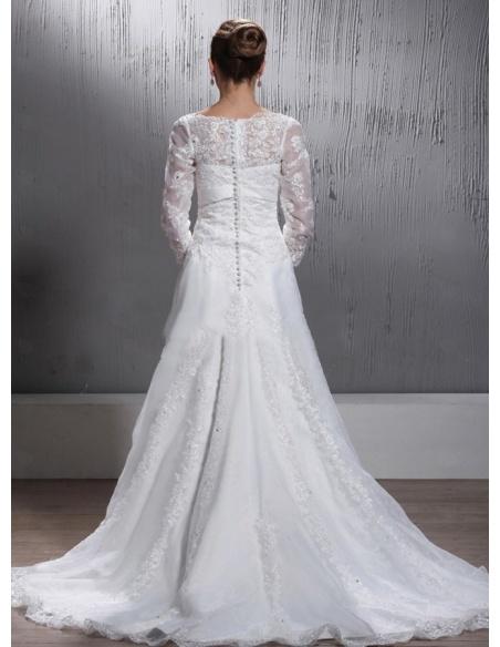 BONNIE - A-line Empire waist V-neck Chapel train Organza Wedding dress