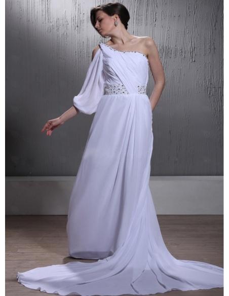A Line Empire Waist Chapel Train Chiffon One Shoulder Wedding Dress