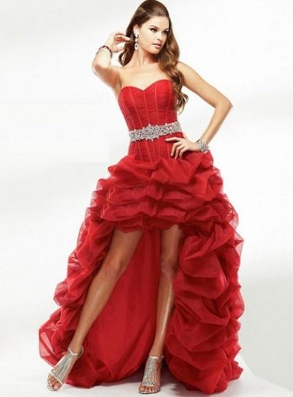 ANGEL - Short A-line Empire waist Asymmetrical Organza Sweetheart Wedding dress