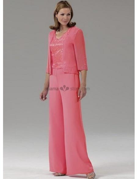 ELLIE - Mother of the bride Cheap Sheath/Column Floor length Georgette V-neck Wedding party dress