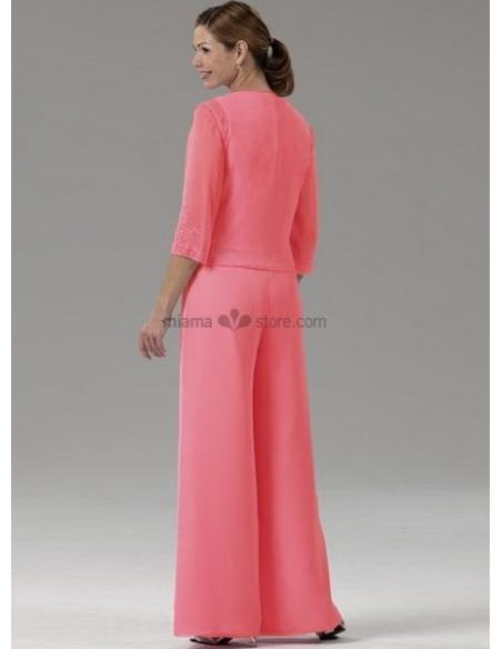 ELLIE - Mother of the bride Cheap Sheath/Column Floor length Chiffon V-neck Wedding party dress