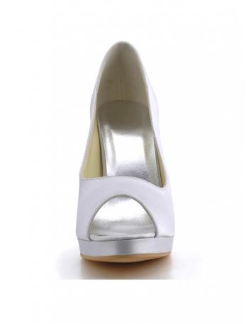 Scarpe da Sposa Spuntate Semplici e Comode in Raso Tacco 10