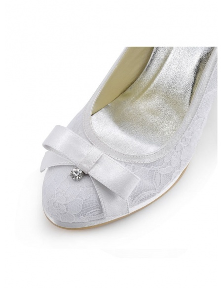 Round toe Satin Lace Rubber sole Wedding shoes