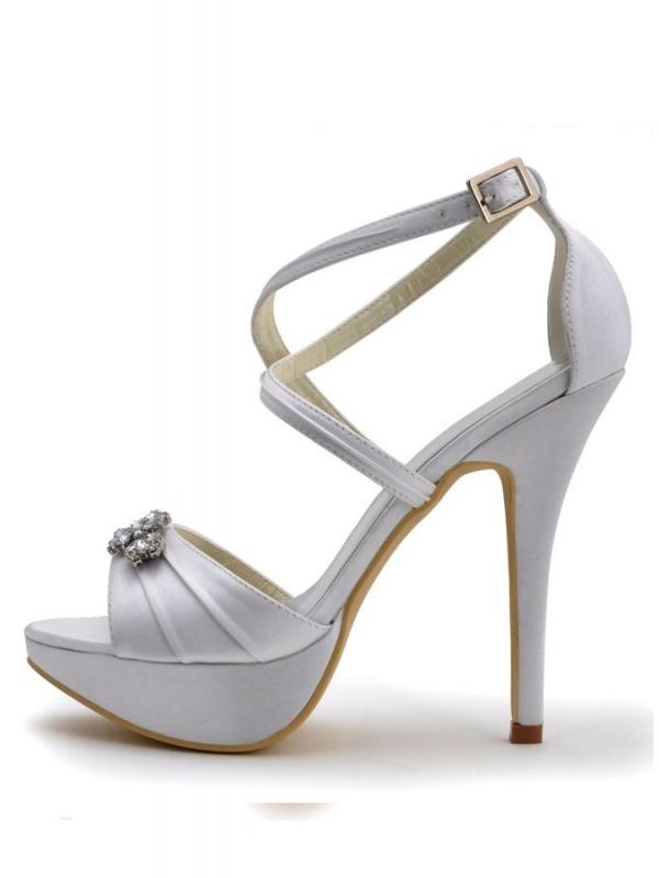 Satin toe Peep Wedding sole shoes Rubber fgaxAw1