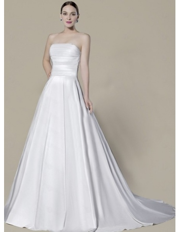 KELLY - A-line Strapless Chapel train Satin Wedding dress