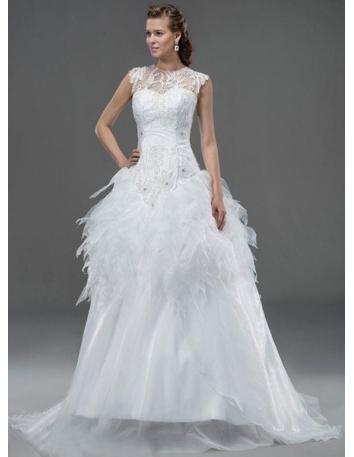 a298c67d1002 JESSIE - A-line Sweetheart Basque waist Chapel train Tulle Wedding dress ...