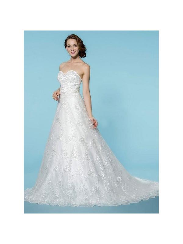 ... Vestito da Sposa A-line Scollo a Cuore Con strascico lungo in pizzo