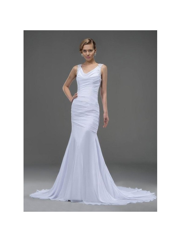 V neck mermaid chapel train chiffon wedding dress for Ross wedding dresses