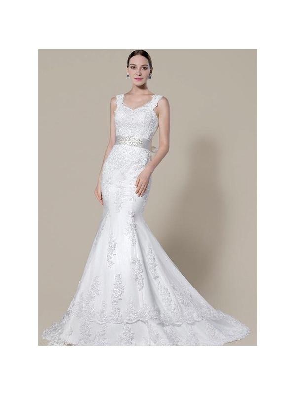 Mermaid empire waist chapel train tulle wedding dress for Empire waist tulle wedding dress