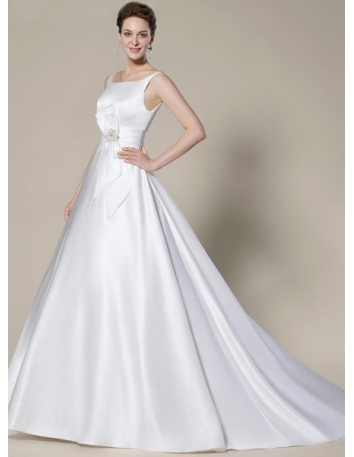 ADELINA - A-line Empire waist Chapel train Satin Square neck Wedding dress