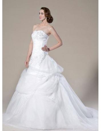 SUNDY - A-line Sweetheart Chapel train Organza Wedding dress