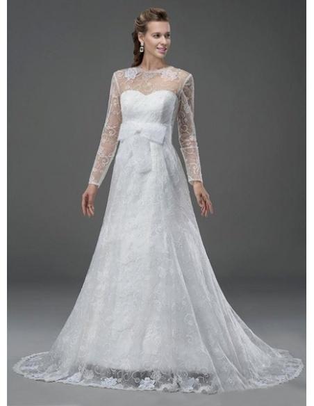 PATRICIA - A-line Empire waist Sweetheart Chapel train Lace Wedding dress