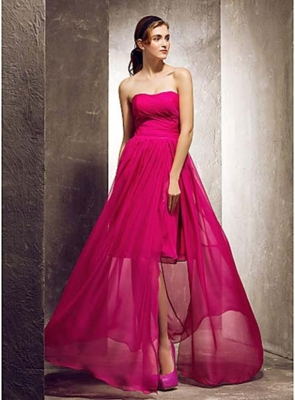 ROSE - Bridesmaid Cheap Sheath/Column Floor length Chiffon Strapless Wedding party dresses