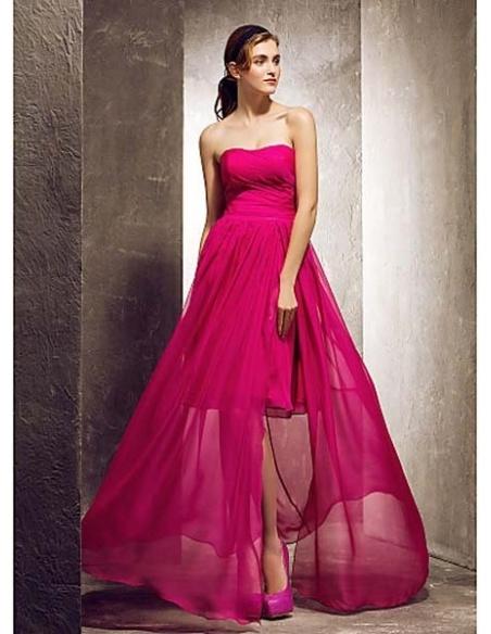 ROSE - Bridesmaid Cheap Sheath/Column Floor length Chiffon Strapless Wedding party dresses
