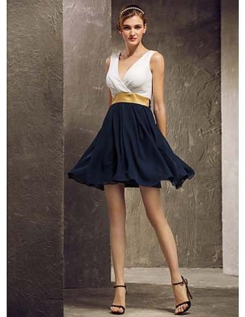 SANDY - Bridesmaid Cheap A-line Short/Mini Chiffon V-neck Wedding party dresses