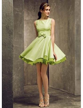 STELLA - Bridesmaid Cheap A-line Short/Mini Taffeta High round/Slash neck Wedding party dresses