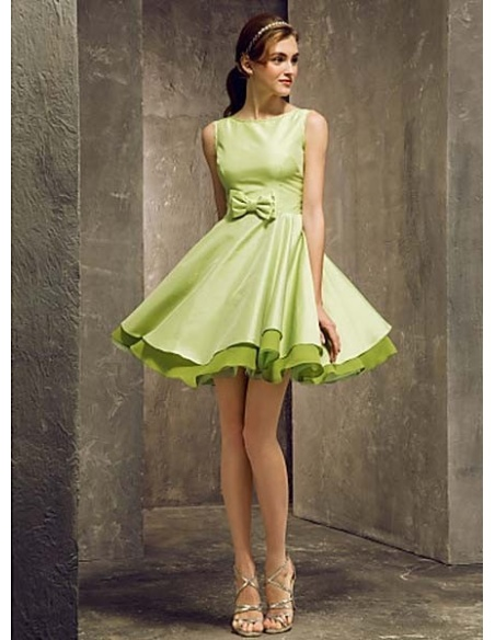STELLA - Bridesmaid Cheap A-line Short/Mini Taffeta High round/Slash neck Wedding party dresses
