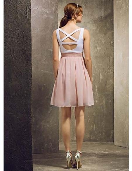 TAMARA - Bridesmaid Cheap A-line Short/Mini Chiffon High round/Slash neck Wedding party dresses