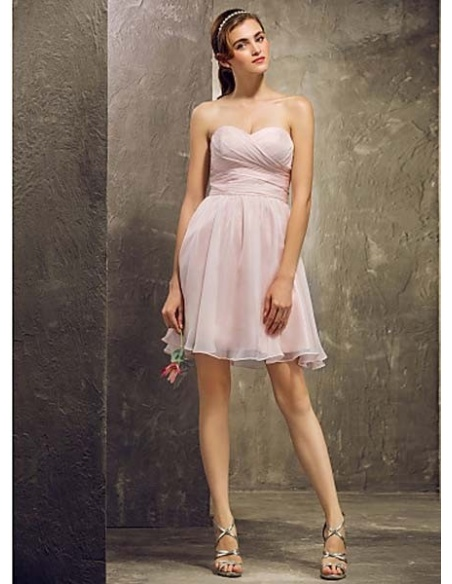 TINA - Bridesmaid Cheap A-line Short/Mini Chiffon Sweetheart Wedding party dresses