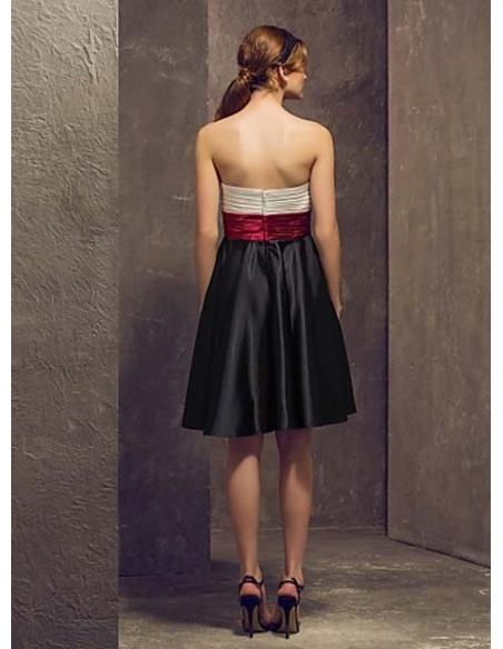 VICKY - Bridesmaid Cheap A-line Knee length Stretch satin Sweetheart Wedding party dresses