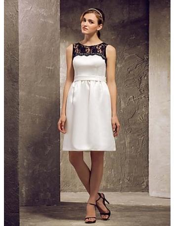 WINNIE - Bridesmaid Cheap Sheath/Column Knee length Lace Satin High round/Slash neck Wedding party dresses