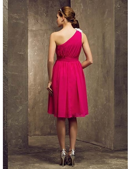 BEBE - Bridesmaid Cheap A-line Knee length Chiffon One shoulder Wedding party dresses