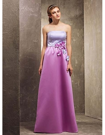 BELLA - Bridesmaid Cheap A-line Floor length Satin Strapless Wedding party dresses
