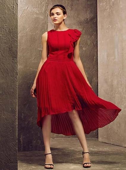 ELISE - Bridesmaid Cheap Sheath/Column Asymmetrical Chiffon High round/Slash neck Wedding party dresses