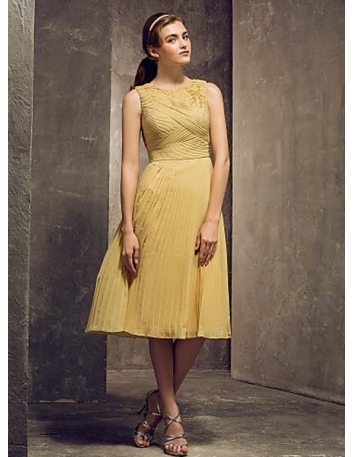 ELLE - Bridesmaid Cheap Sheath/Column Tea length Chiffon High round/Slash neck Wedding party dresses