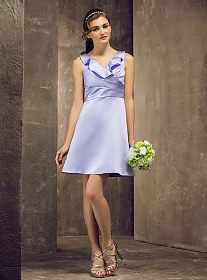 FAYE - Bridesmaid Cheap A-line Short/Mini Satin V-neck Wedding party dresses